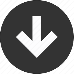 arrow, circle, down, download, downward, guardar, save icon