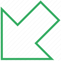 arrow, bottom, direction, in, incoming, left, left-bottom icon