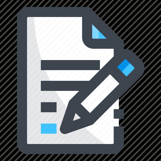 file, history, log, manuscript, write icon