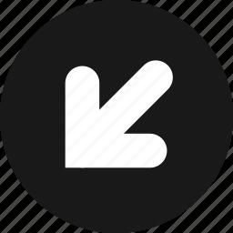 arrow, arrows, bottom, direction, down, left icon