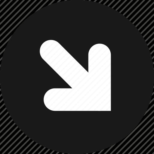 arrow, arrows, bottom, direction, down, right icon