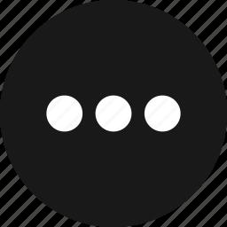continue, ellipsis, menu, more, options icon