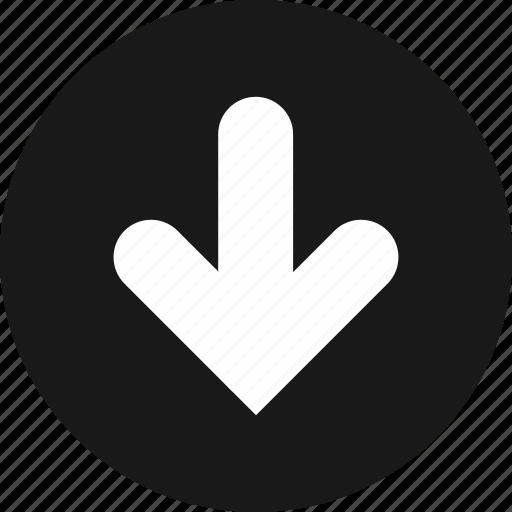arrow, direction, down icon
