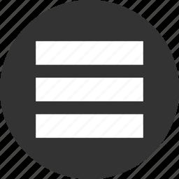 burger, circle, circular, grid, hamburger, interface, items, layout, list, menu, round, stack, web icon