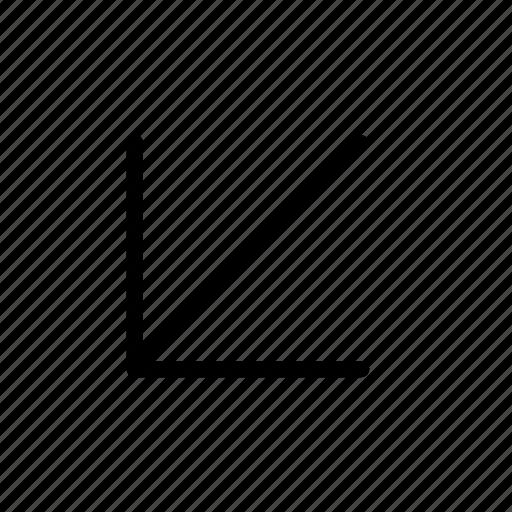 arrow, botttom, direction, left icon