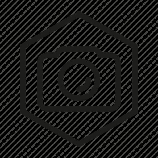 camera, hexagon, media, network, web icon