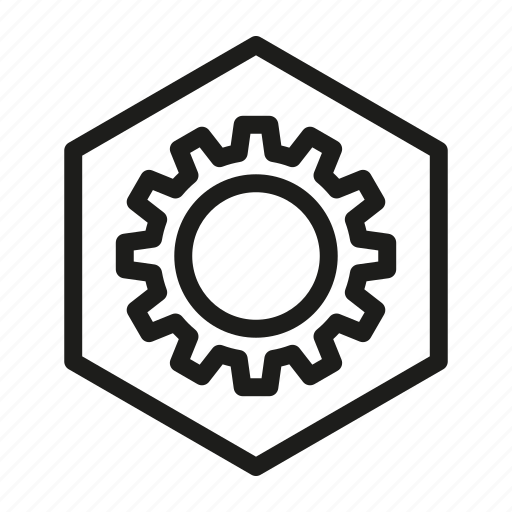 gear, hexagon, media, network, web icon
