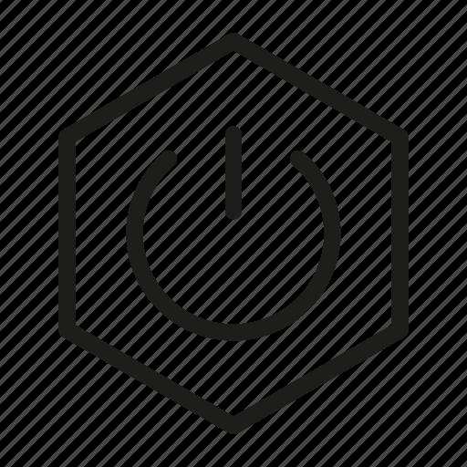 hexagon, media, network, poweron, web icon