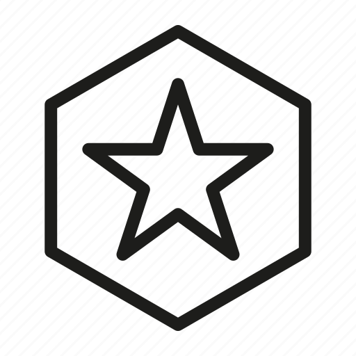 hexagon, media, network, star, web icon