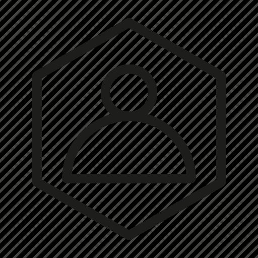 hexagon, media, network, user, web icon