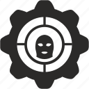 anti, attention, cog, gear, grab, police, theft icon