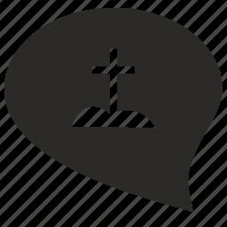 comment, cross, dialog, grave, message icon