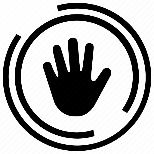 freeze, halt, stop, stop hand, stop sign icon