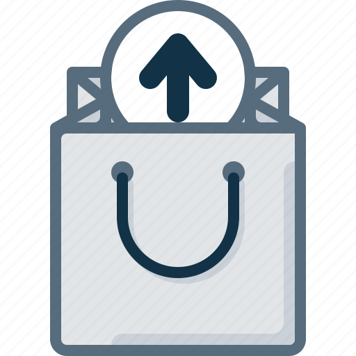 arrow, bag, buy, remove, shop, upload icon