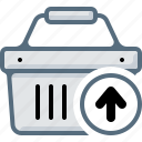 arrow, basket, buy, cart, remove, shop, upload icon