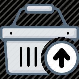 arrow, basket, buy, cart, remove, shop, upload icon