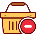basket, buy, cart, delete, minus, shop, shopping icon