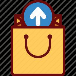 arrow, bag, buy, ecommerce, remove, shop, upload icon