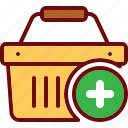 add, basket, cart, plus, shop, shopping icon