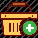 add, basket, cart, plus, shop, shopping