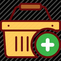 add, basket, cart, plus, shop, shopping icon