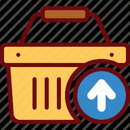 basket, buy, cart, remove, shop, shopping, upload icon