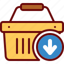 add, arrow, basket, cart, download, shop, shopping icon