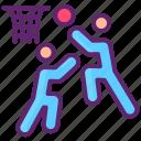 basketball, block, players, sport icon