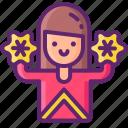 cheerleader, female, woman icon