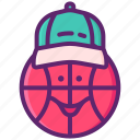 basketball, face, hat, mascot icon