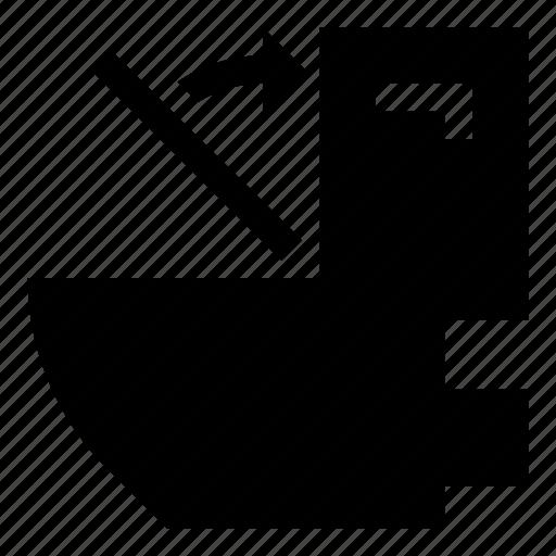 arrow, open, position, seat, toilet, wc icon