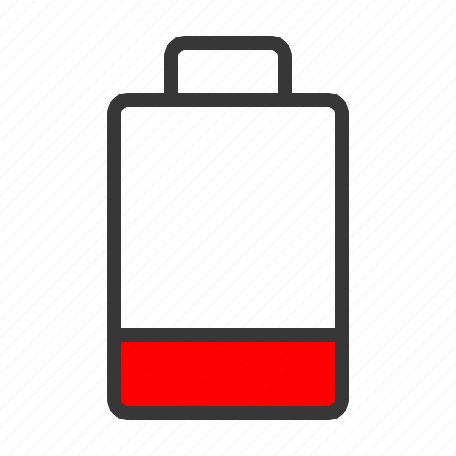 battery, low, one quarter, red, status icon