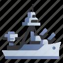 battle, battleship, cannon, marine, military, ocean, warship icon