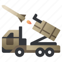 car, launcher, military, missile, rocket, vehicle, weapon icon