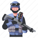 armed, military, police, rifle, shotgun, swat, tactical icon