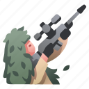bush, gun, military, rifle, sniper, soldier, weapon icon