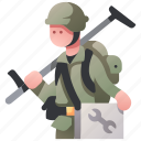 army, engineer, maintenance, military, soldier, tactical, war icon