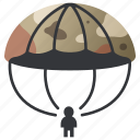 air, army, military, parachute, parachuting, paratrooper, soldier icon