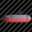 marine, military, navy, ocean, sea, submarine, underwater icon
