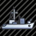 battleship, cannon, gun, military, ocean, sea, warship icon
