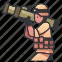 army, bazooka, gun, launcher, military, rocket, soldier icon