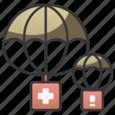 air, airplane, army, drop, military, parachute, supply icon