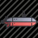 military, navy, ocean, sea, submarine, underwater, weapon icon