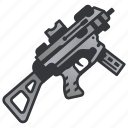 battle, gun, machine, military, rifle, submachine, weapon icon