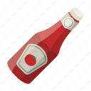 bottle, food, ketchup, label, seasoning, tomato icon