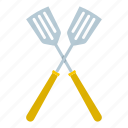 crossed, handle, kitchen, metal, spatula, tool, utensil icon