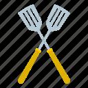 crossed, handle, kitchen, metal, spatula, tool, utensil