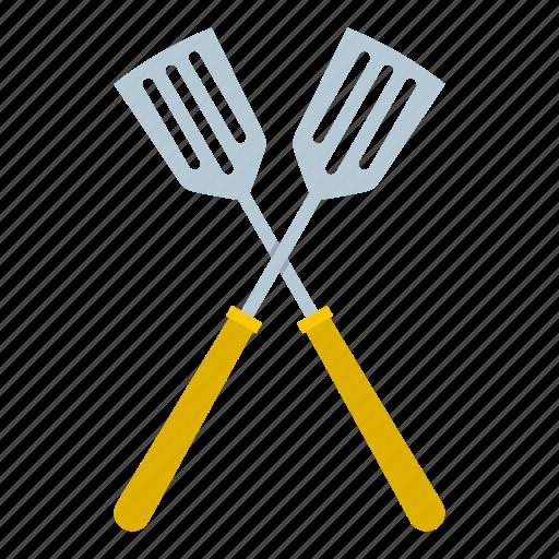 crossed, handle, kitchen, metal, spatula, tool, utensil icon