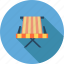 beach, beach chairs, holiday, sea, summer, sunlight, umbrella icon