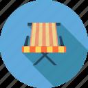 beach, beach chairs, holiday, sea, summer, sunlight, umbrella icon